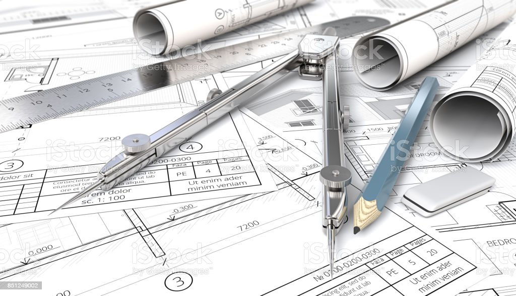 From sketch to blueprint. stock photo