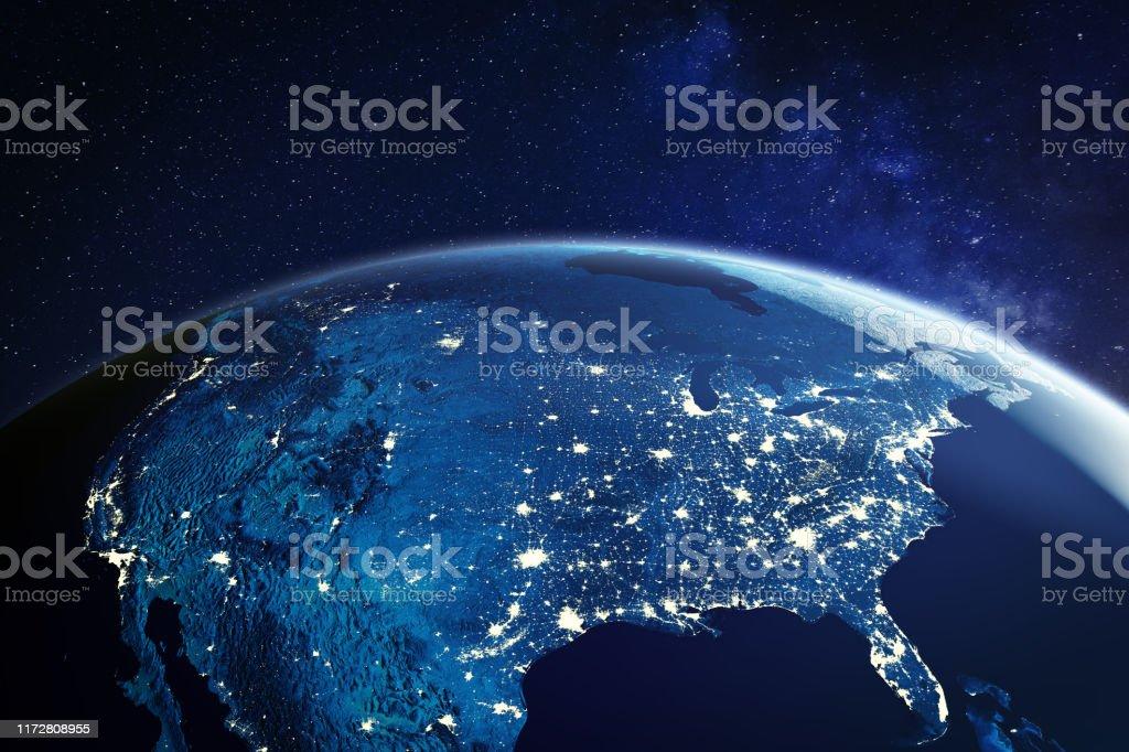 미국의 도시 도시를 보여주는 도시 조명과 밤에 우주에서 미국, 북미의 글로벌 개요, 행성 지구의 3D 렌더링, NASA의 요소 - 로열티 프리 3차원 형태 스톡 사진