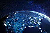 USA from space at night with city lights showing American cities in United States, global overview of North America, 3d rendering of planet Earth. Some elements from NASA (https://eoimages.gsfc.nasa.gov/images/imagerecords/57000/57752/land_shallow_topo_2048.jpg)