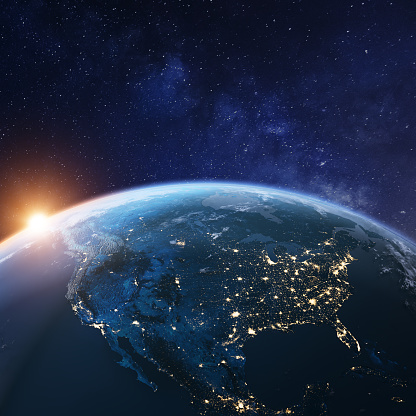 USA from space at night with city lights showing American cities in United States, Mexico and Canada, global overview of North America, 3d rendering of planet Earth, elements from NASA (https://eoimages.gsfc.nasa.gov/images/imagerecords/57000/57752/land_shallow_topo_2048.jpg)