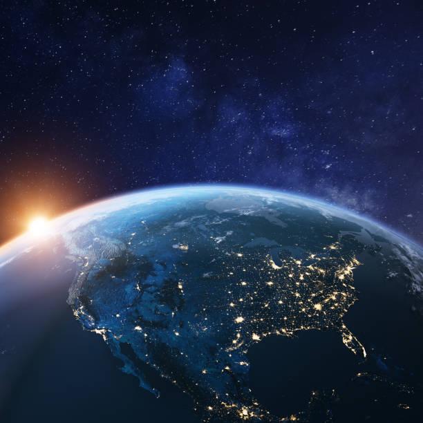 USA aus dem Weltraum in der Nacht mit Stadtlichtern, die amerikanische Städte in den Vereinigten Staaten, Mexiko und Kanada zeigen, globale Übersicht über Nordamerika, 3D-Rendering des Planeten Erde, Elemente der NASA – Foto