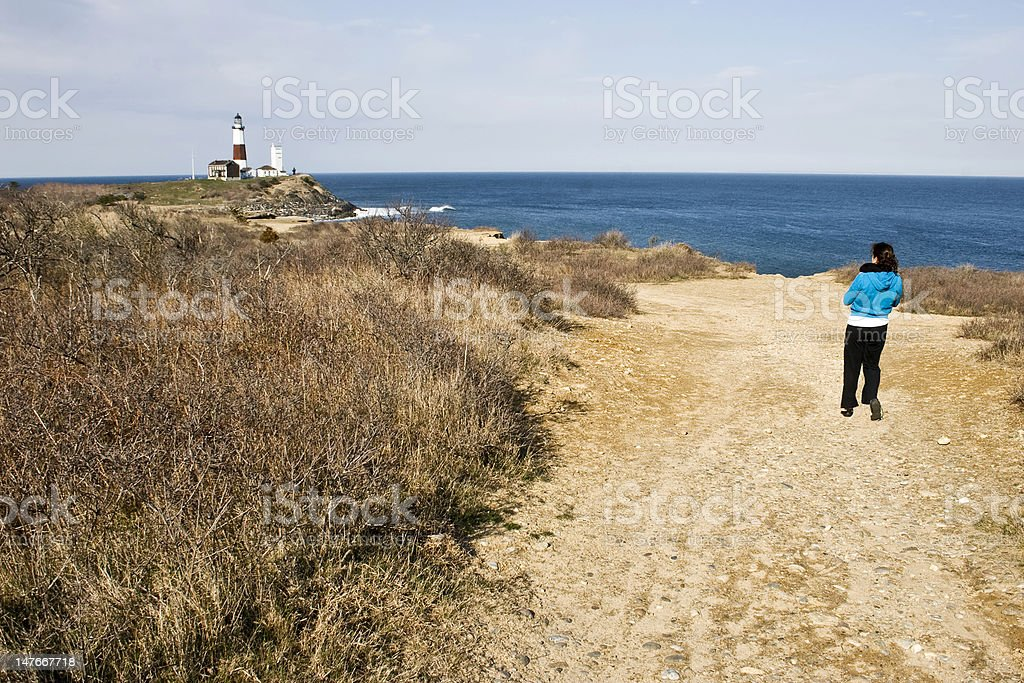 From the Cliffs at Montauk Point Lighthouse stock photo