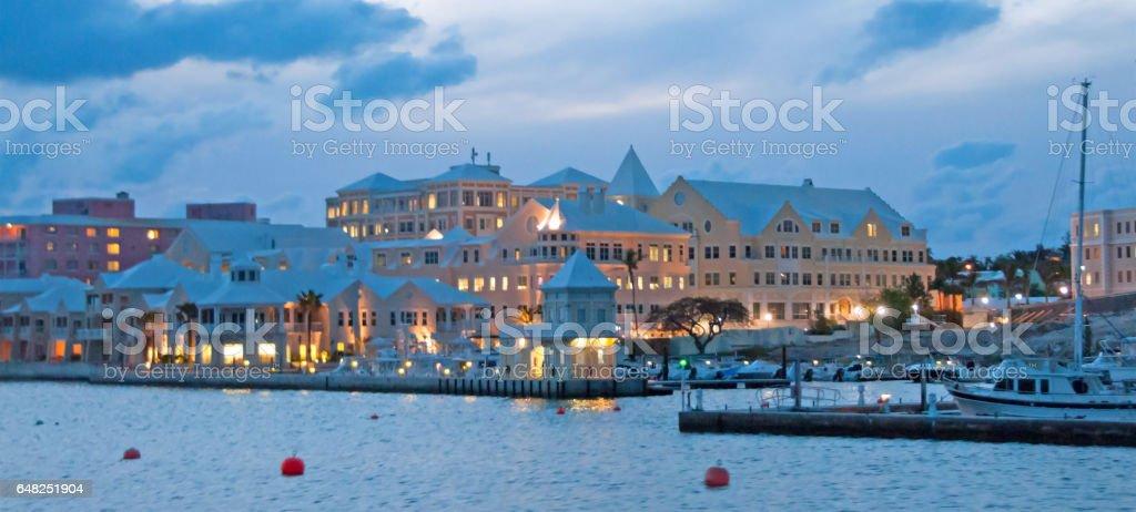 From the harbor, Marina condos in Hamilton, Bermuda  sunset stock photo
