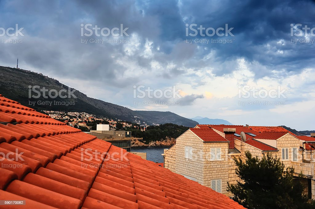 From the roof overlooking the coast at Dubrovnik stock photo