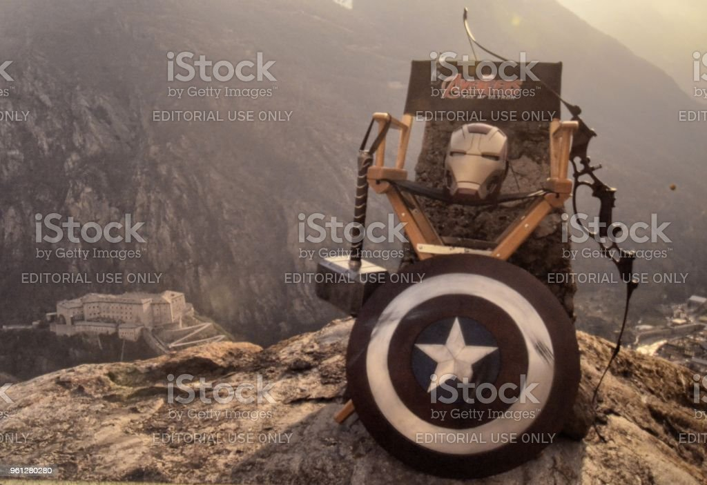 From the set of the fantasy adventure action film shot in the fort. stock photo