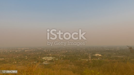 From the top of Doi Kham seen in the city of Jung, Chiang Mai temple, Thailand that is full of smog.