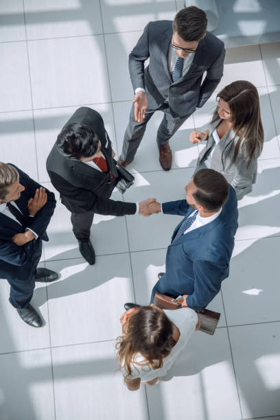 from the top view. business meeting partners stock photo