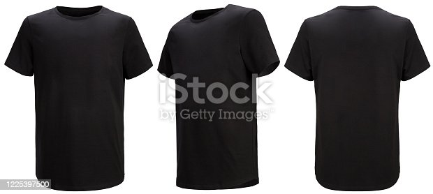 Front, 3/4, back views of black t-shirt isolated on white background with paths. Regular style. Shooted on a invisible mannequin. Template, blank for logo
