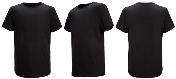 Front, 3/4, back views of black t-shirt isolated on white background with paths. Regular style.