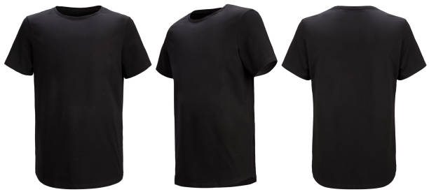 Front, 3/4, back views of black t-shirt isolated on white background with paths. Regular style. Front, 3/4, back views of black t-shirt isolated on white background with paths. Regular style. Shooted on a invisible mannequin. Template, blank for logo black shirt stock pictures, royalty-free photos & images