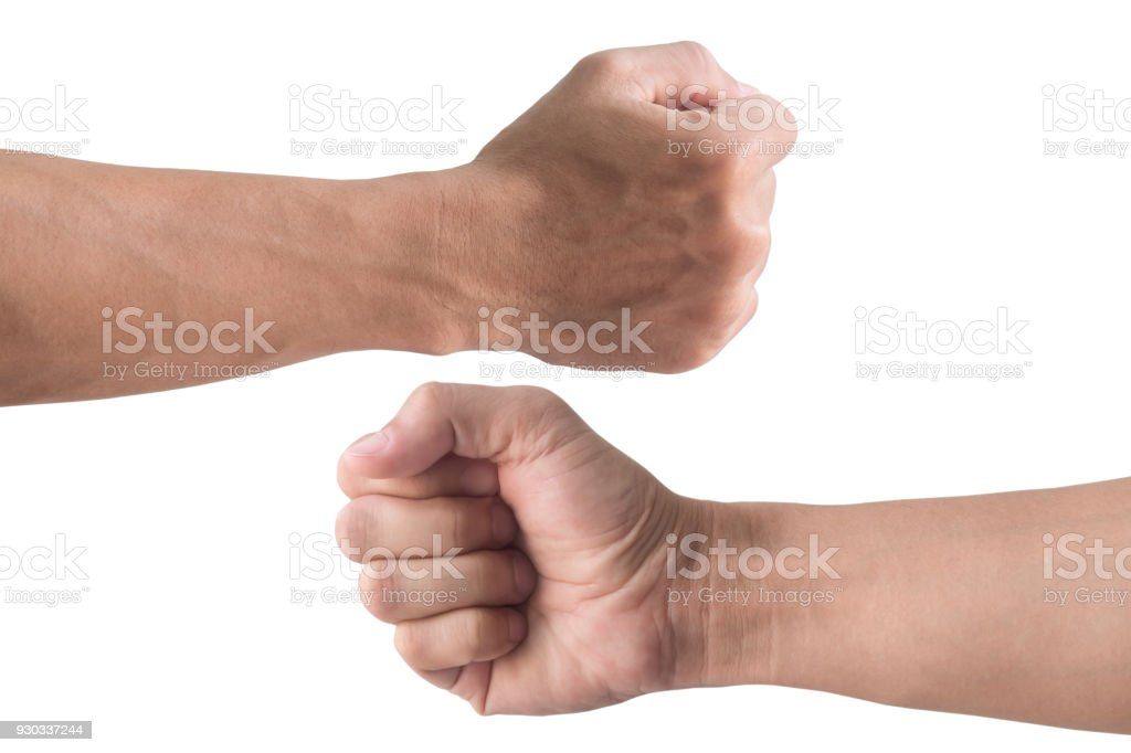 front and back fist isolated on white background stock photo