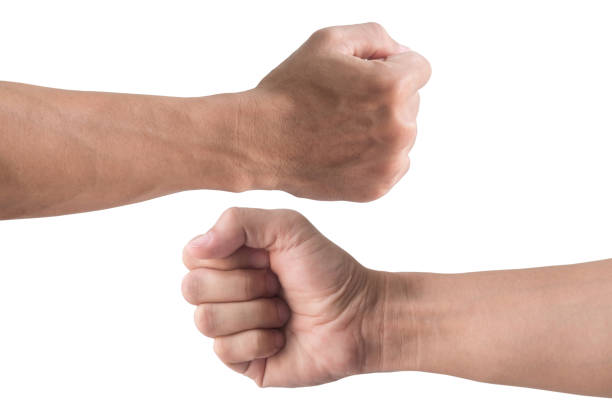 front and back fist isolated on white background - fist stock photos and pictures