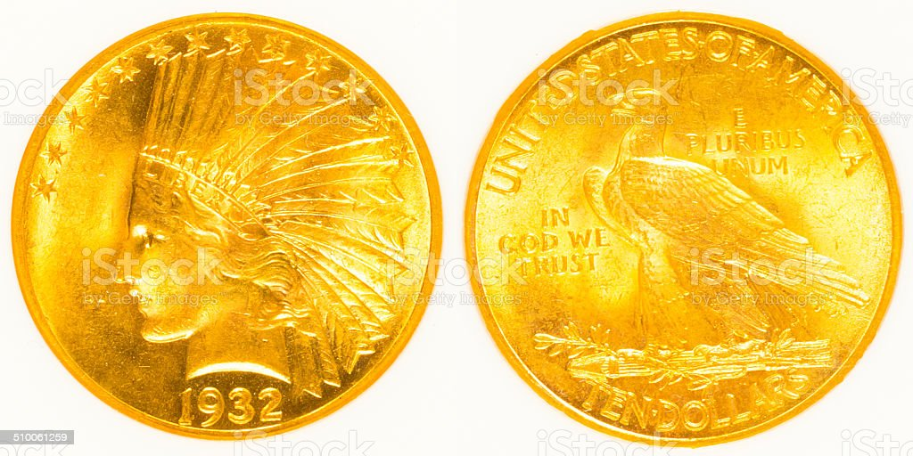Front and Back Indian Head Gold Coin stock photo