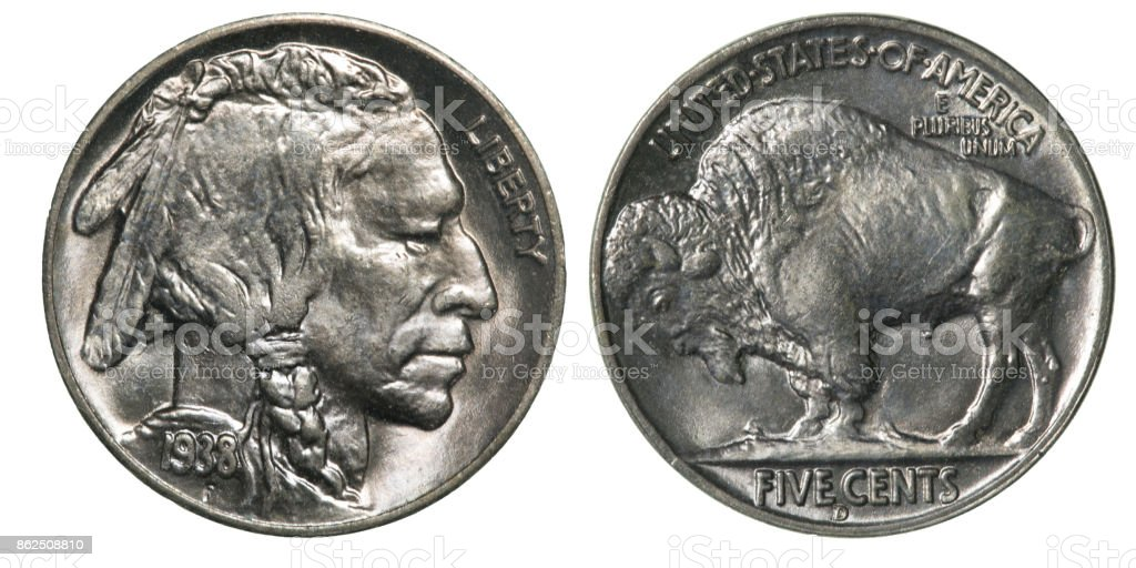 Front and Back (Obverse & Reverse) of a 1938 Indian Head (Buffalo) Nickel stock photo