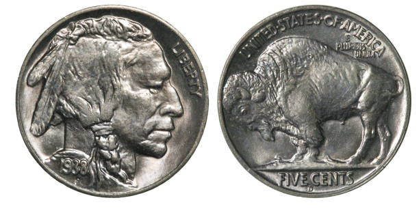 front and back (obverse & reverse) of a 1938 indian head (buffalo) nickel - nickel stock photos and pictures