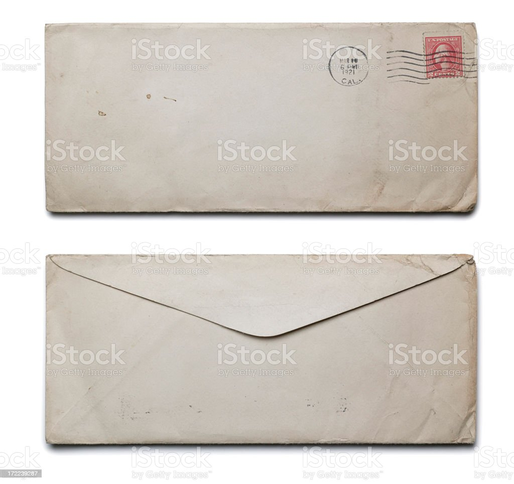 Front and back of old white envelope on white background stock photo