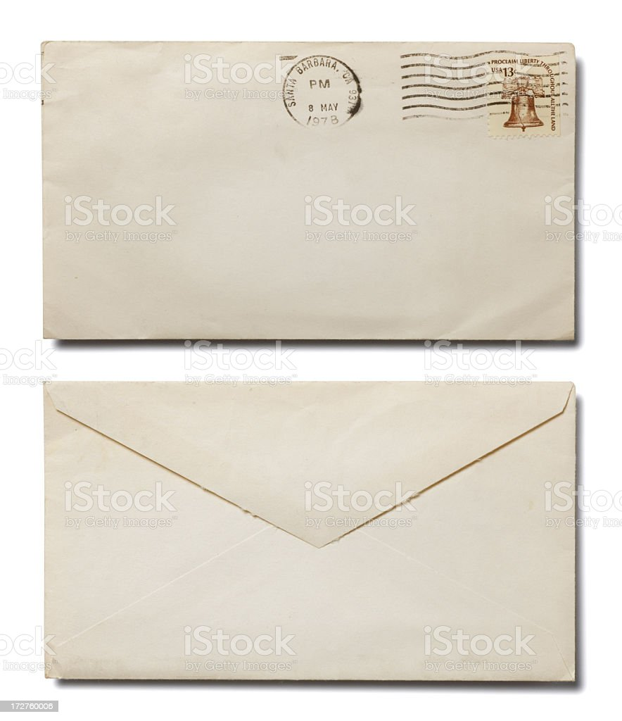 Front and back of white envelope on white background royalty-free stock photo