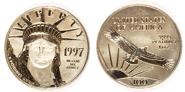 Front and Back Platinum Hundred Dollar Coin stock photo