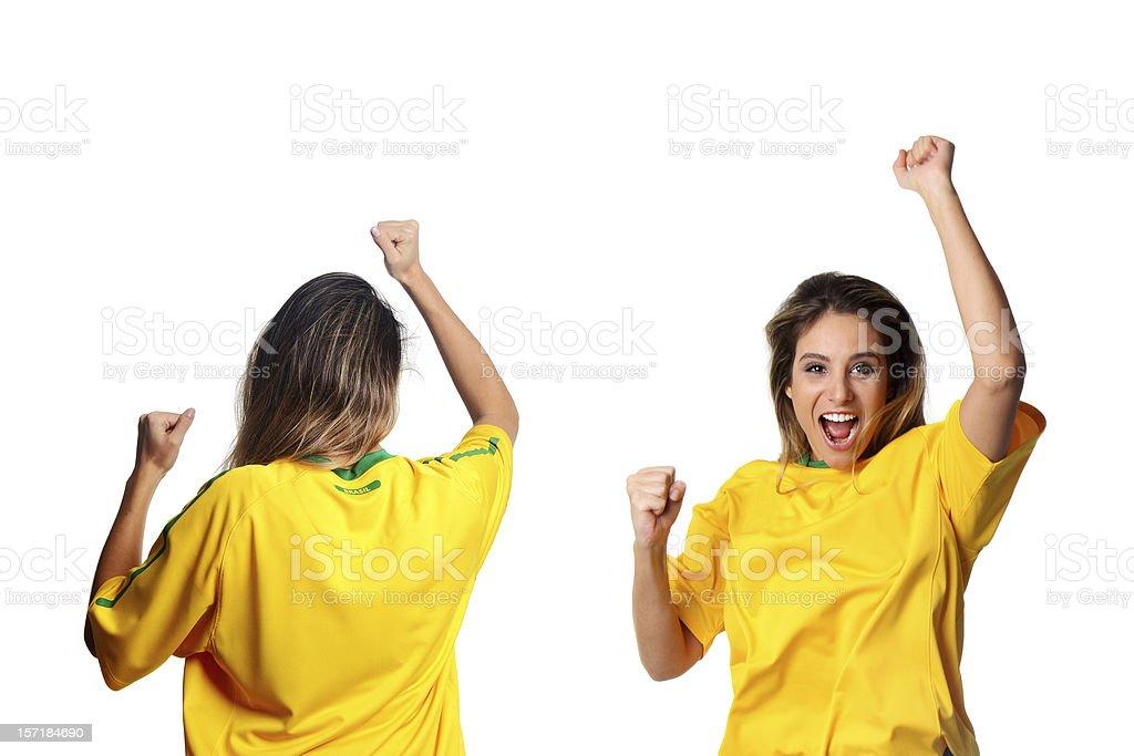 Frente e Vista traseira de um Brazilian fan - foto de acervo