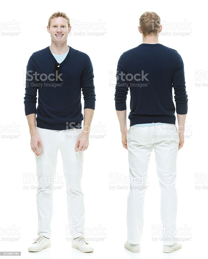 Front and back view of casual man stock photo