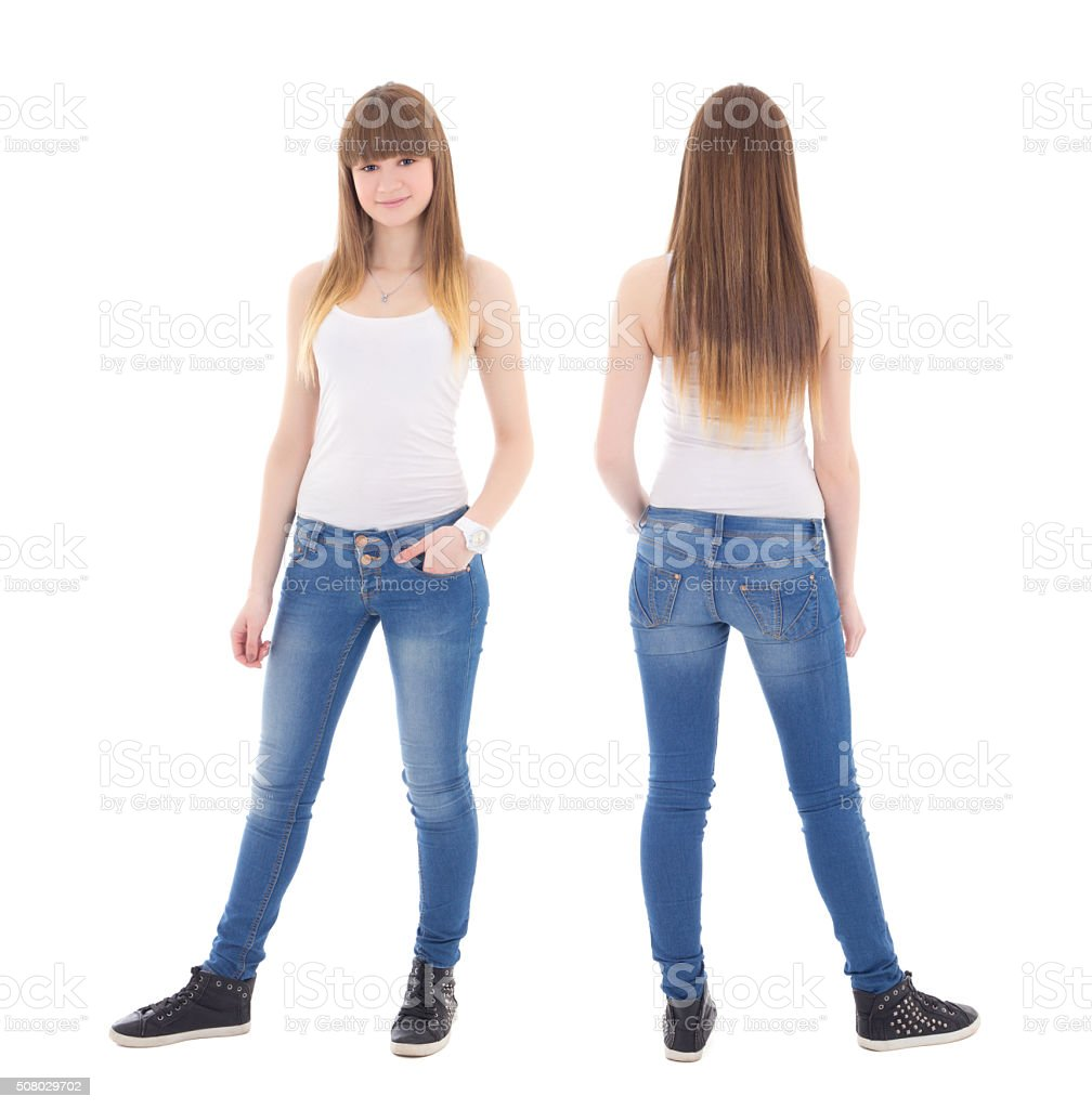 front and back view of cute teenage girl in t-shirt stock photo