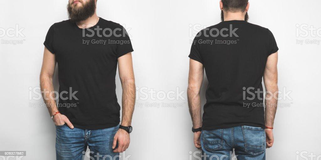 vordere und hintere Ansicht des Mannes in schwarz isoliert auf weißem t-shirt – Foto