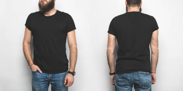 front and back view of man in black t-shirt isolated on white stock photo