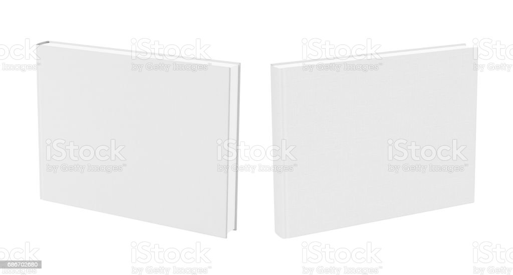 Front and back view of standing blank book cover stock photo