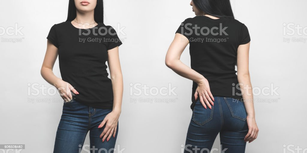 front and back view of young woman in blank black t-shirt isolated on white stock photo