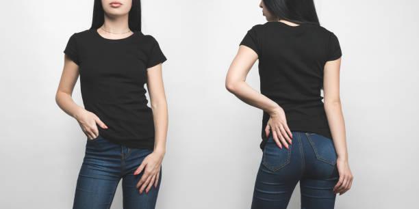 vista frontal e traseira de jovem em preto em branco t-shirt isolado no branco - camiseta preta - fotografias e filmes do acervo