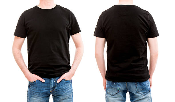 front and back view tshirt template. - t shirt stock photos and pictures