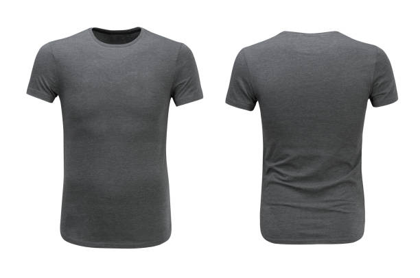 front and back views of grey t-shirt on white background - shirt stock photos and pictures