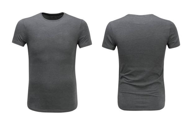 Vues avant et arrière du t-shirt gris sur fond blanc - Photo