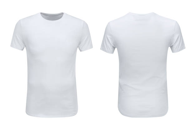 Front and back views of white t-shirt on white background stock photo