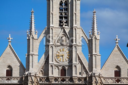 Front and detail of bell tower of Ste Boniface in Brussels Ixelles
