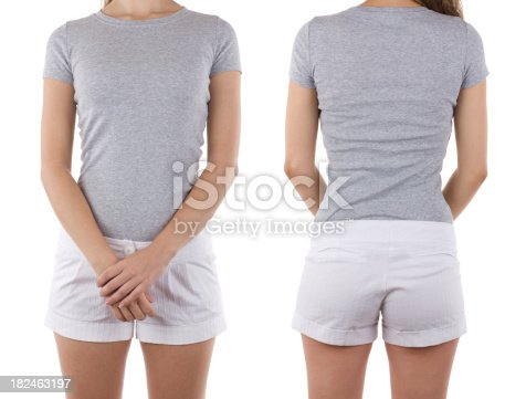956902000 istock photo Front and rear view of woman wearing blank shirt 182463197