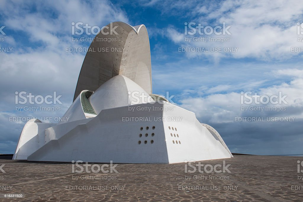 Front and side face of Concert Hall of Calatrava stock photo