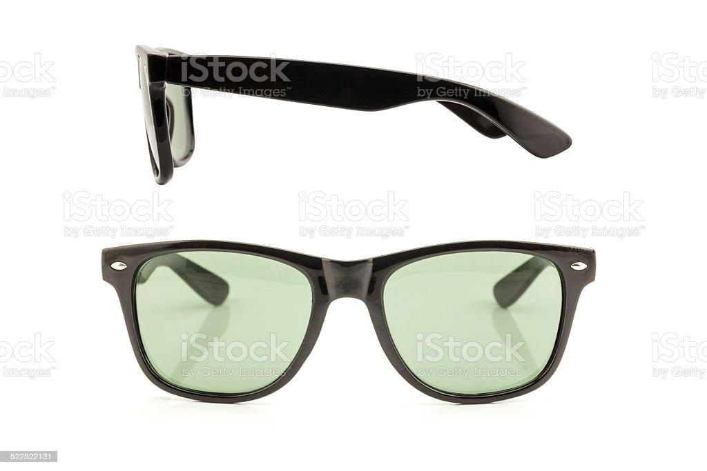 08b8cb61dee Vista anteriore e laterale occhiali da sole neri foto stock royalty-free