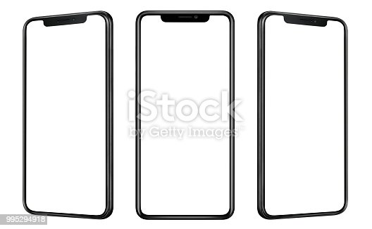 Front and side view of black smartphone with blank screen and modern frame less design isolated on white