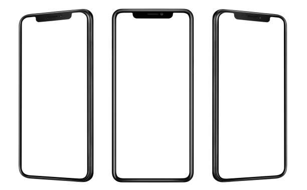 vista frontale e laterale dello smartphone nero con schermo vuoto e design moderno senza cornice isolato su bianco - smart phone foto e immagini stock