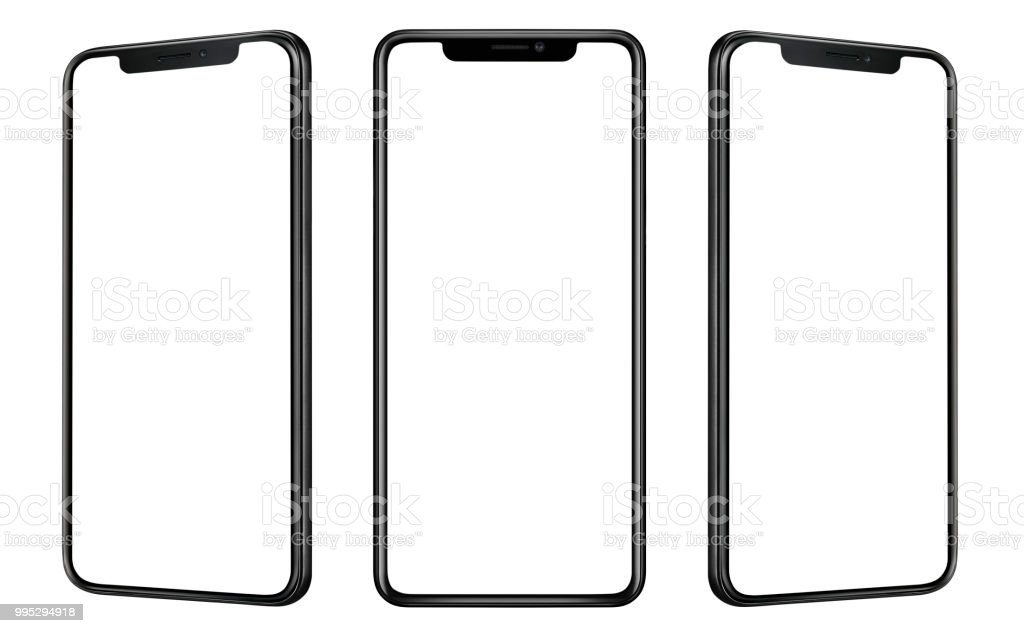 Front and side view of black smartphone with blank screen and modern frame less design isolated on white stock photo