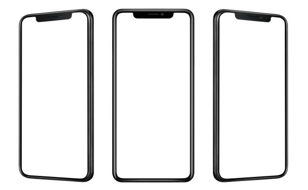Front and side view of black smartphone with blank screen and modern frame less design isolated on white Front and side view of black smartphone with blank screen and modern frame less design isolated on white phone stock pictures, royalty-free photos & images