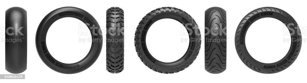 Front and side view of racing, road and off-road, motorcycle tires. 3d rendering. 3D illustration, isolated on white background. stock photo