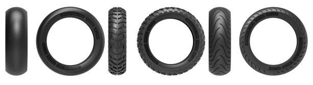 front and side view of racing, road and off-road, motorcycle tires. 3d rendering. 3d illustration, isolated on white background. - bike tire tracks foto e immagini stock