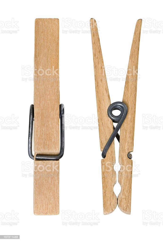 Front and side view of wooden clothes pegs stock photo