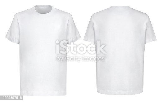 istock Front back and 3/4 views of white t-shirt on isolated on white background hip hop style 1225397516