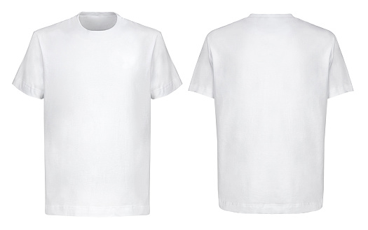Front back and 3/4 views of white t-shirt on isolated on white background hip hop style