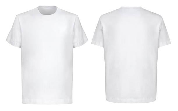przedni tył i 3/4 widoki białego t-shirtu na izolowanym na białym tle w stylu hip hop - plecy zdjęcia i obrazy z banku zdjęć