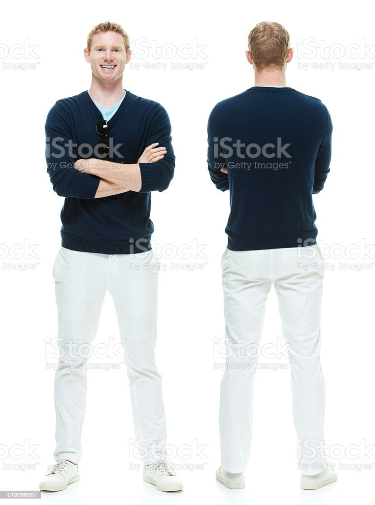 Front & back view of casual man stock photo