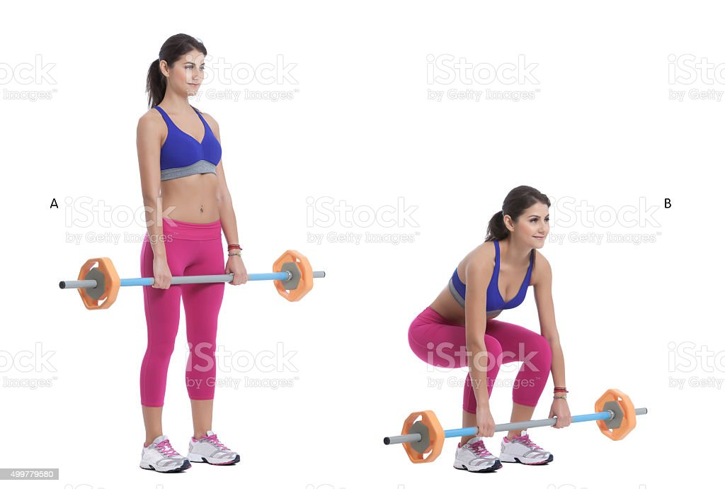 Front Barbell Deep Squat stock photo